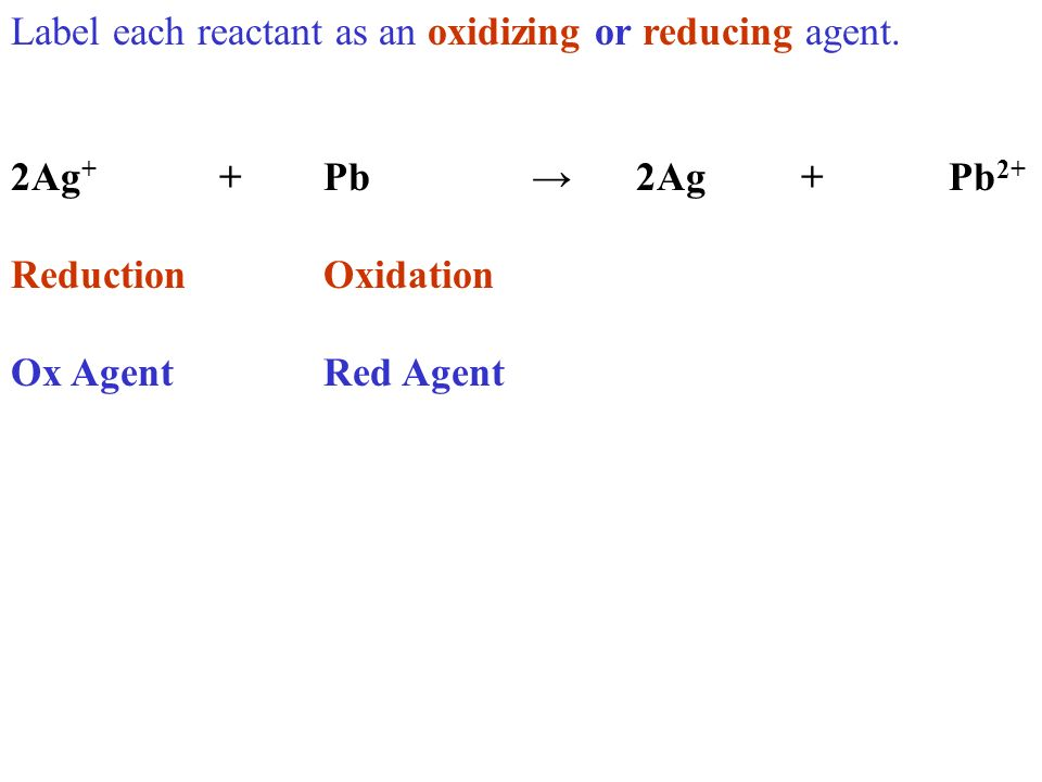 Label each reactant as an oxidizing or reducing agent. 2Ag + +Pb2Ag +Pb 2+ ReductionOxidation Ox AgentRed Agent