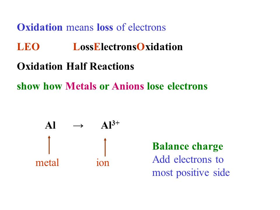 Oxidation means loss of electrons LEOLossElectronsOxidation Oxidation Half Reactions show how Metals or Anions lose electrons Al Al 3+ metalion Balance charge Add electrons to most positive side
