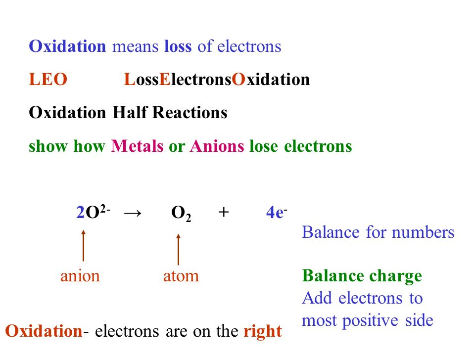 Oxidation means loss of electrons LEOLossElectronsOxidation Oxidation Half Reactions show how Metals or Anions lose electrons 2O 2- O 2 +4e - anionatom Balance for numbers Oxidation- electrons are on the right Balance charge Add electrons to most positive side