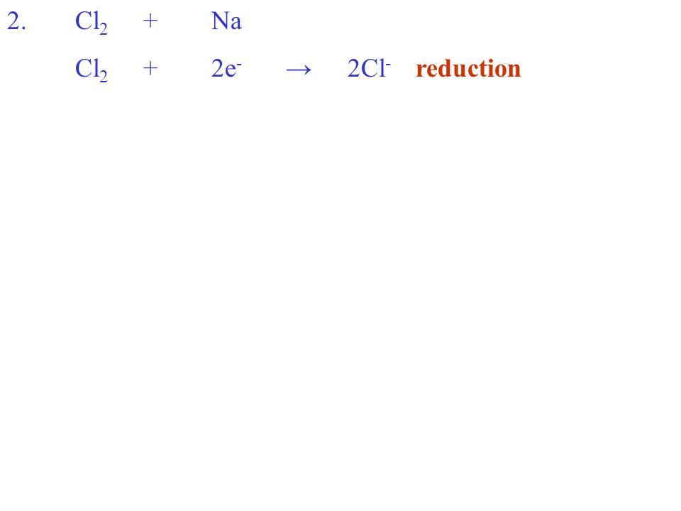 Cl 2 +2e - 2Cl - reduction
