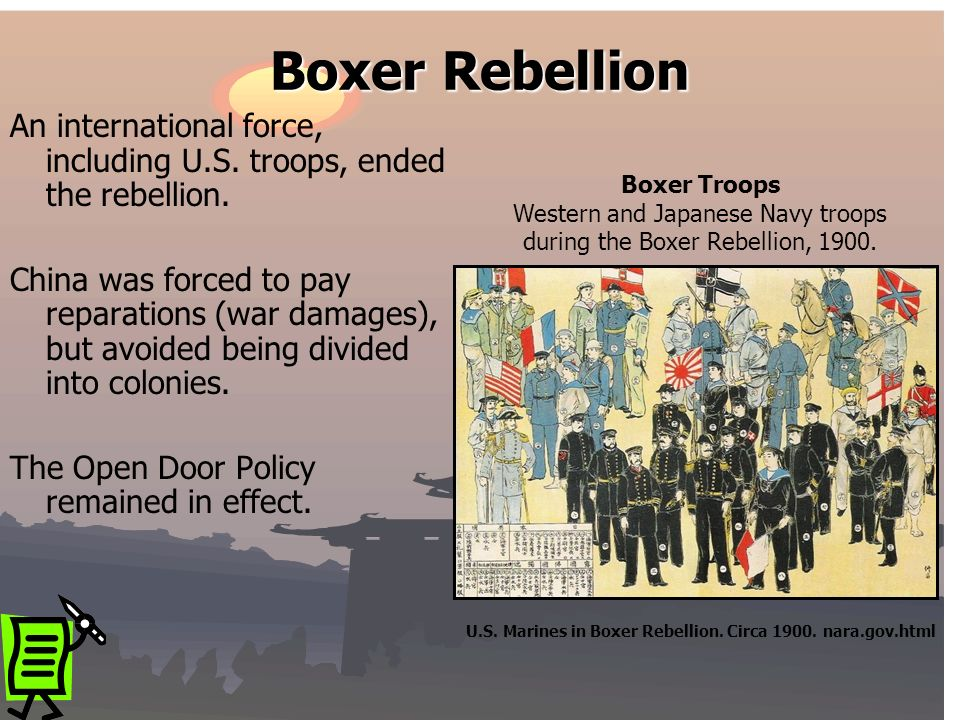 An international force, including U.S. troops, ended the rebellion. China was forced to pay reparations (war damages), but avoided being divided into