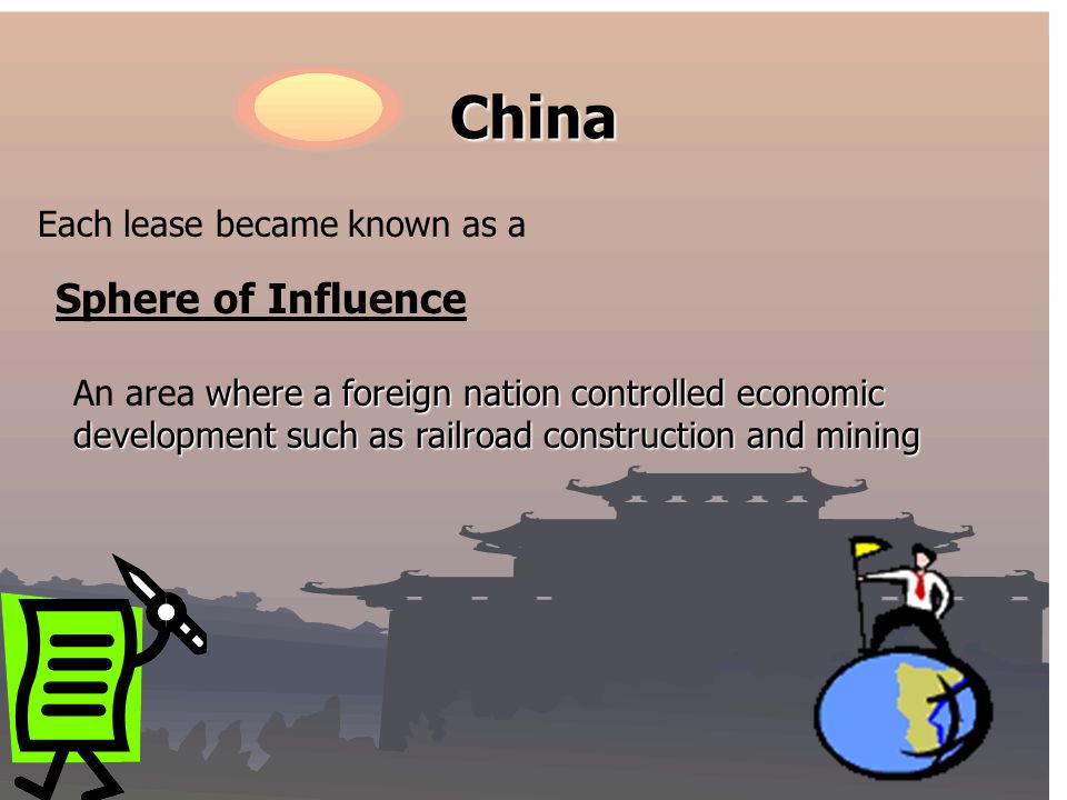 China Each lease became known as a Sphere of Influence where a foreign nation controlled economic development such as railroad construction and mining