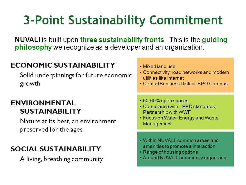 3-Point Sustainability Commitment NUVALI is built upon three sustainability fronts. This is the guiding philosophy we recognize as a developer and an