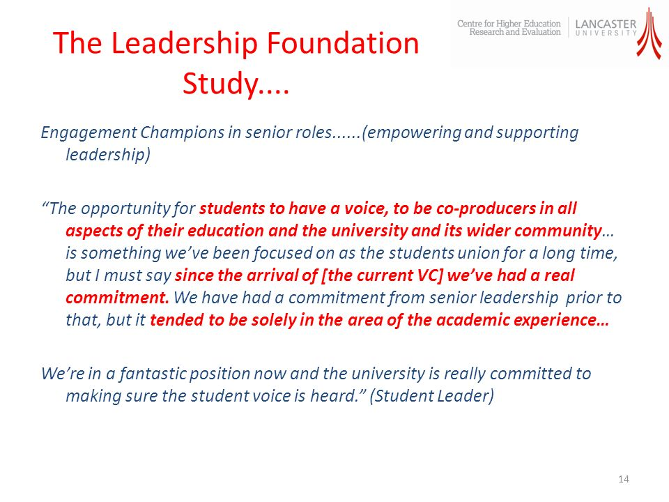 The Leadership Foundation Study....