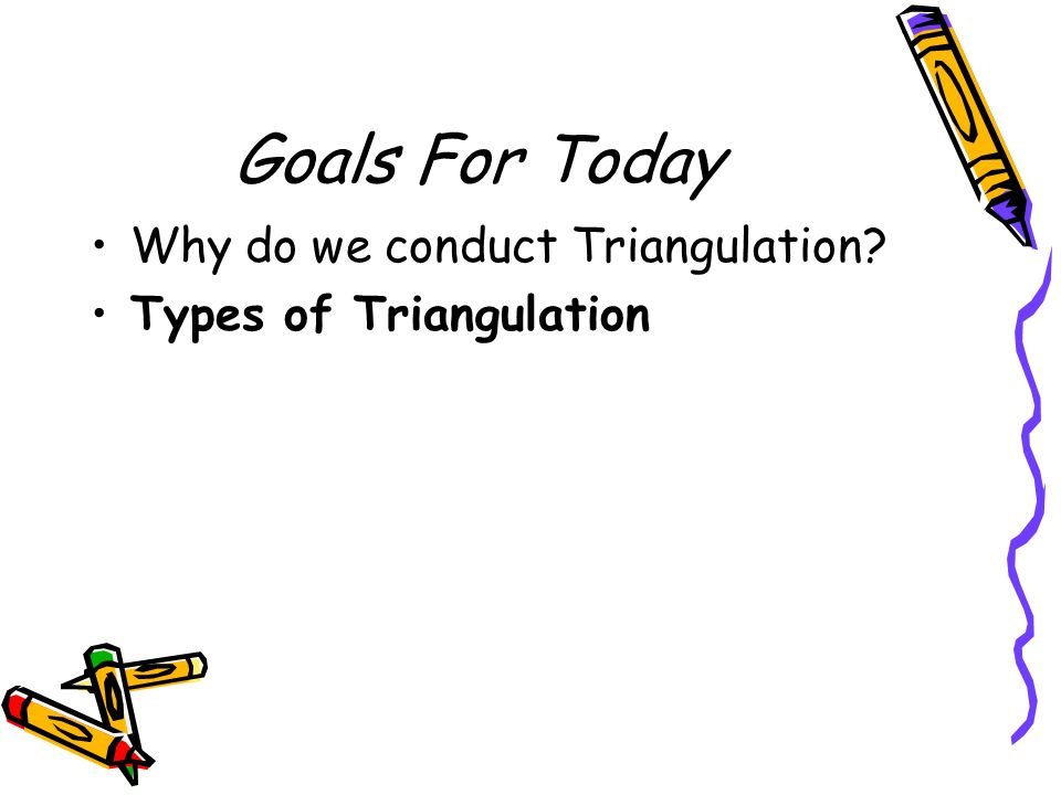 1) Data Triangulation Time, space, person 2) Method Triangulation Design Data collection 3) Investigator Triangulation 4) Theory Triangulation Fifth type, multiple triangulation, which uses a combination of two or more triangulation techniques in one study.