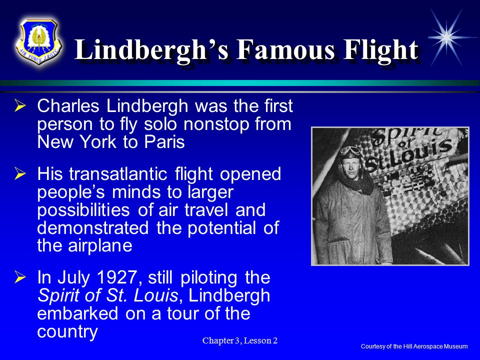 Chapter 3, Lesson 2 Lindberghs Famous Flight Charles Lindbergh was the first person to fly solo nonstop from New York to Paris His transatlantic fligh