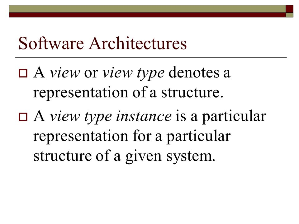 Bass Approach The documentation consists in two parts: First, a general overview which defines: How the document is organized What is the system about A diagram showing the mapping between views The rationale behind the systems design among other things