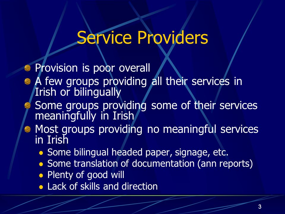 3 Service Providers Provision is poor overall A few groups providing all their services in Irish or bilingually Some groups providing some of their se
