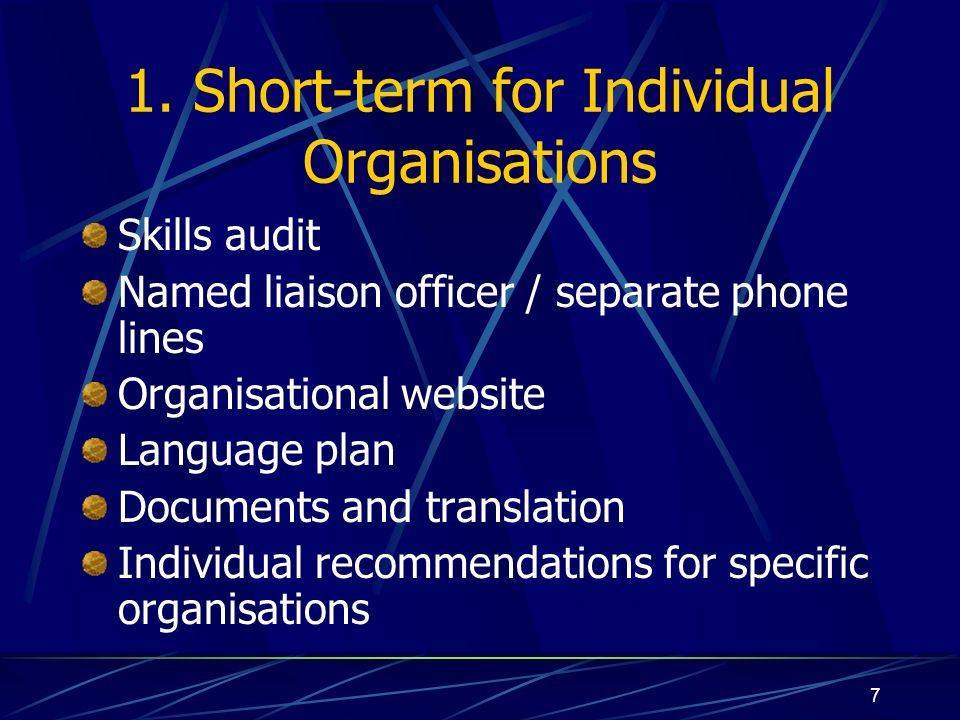 7 1. Short-term for Individual Organisations Skills audit Named liaison officer / separate phone lines Organisational website Language plan Documents