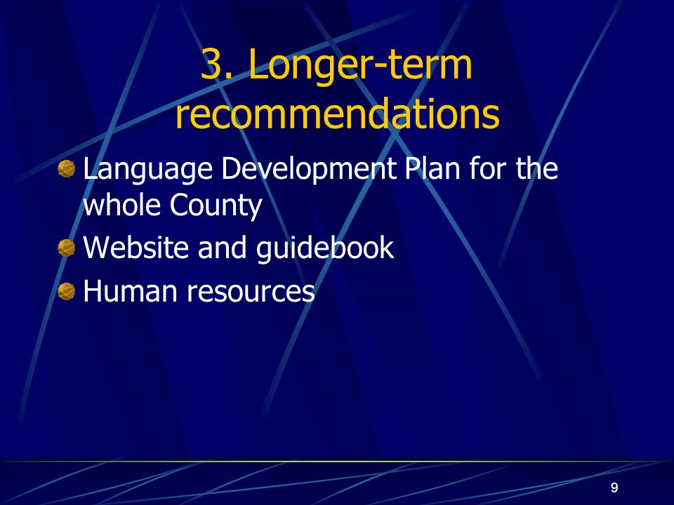 9 3. Longer-term recommendations Language Development Plan for the whole County Website and guidebook Human resources