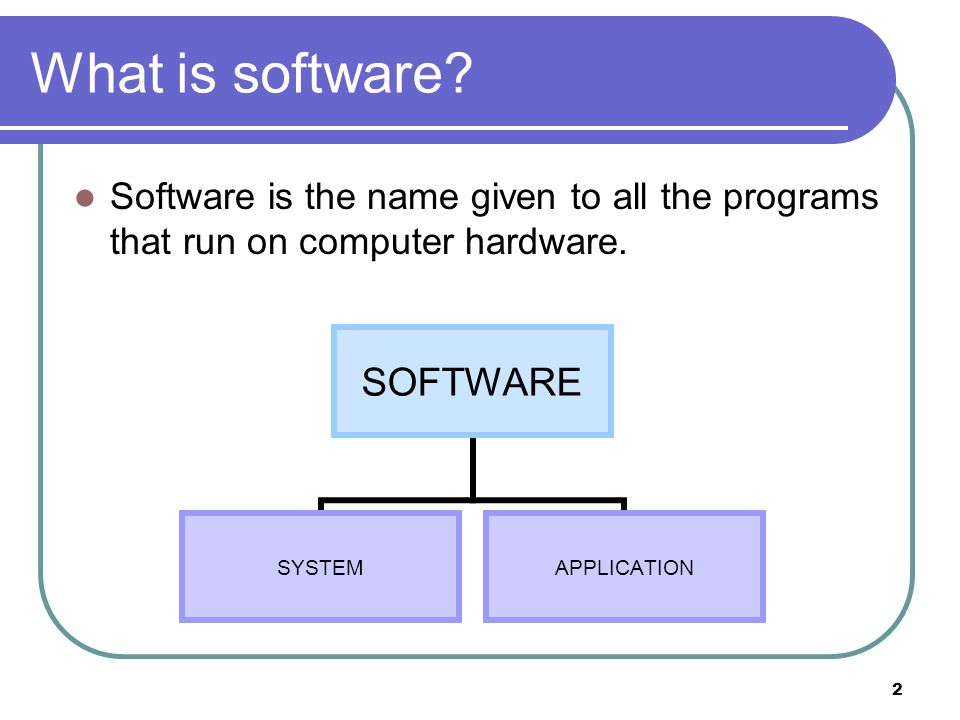 2 What is software? Software is the name given to all the programs that run on computer hardware. SOFTWARE SYSTEMAPPLICATION