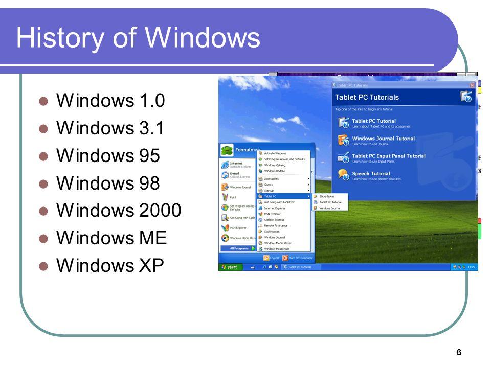 6 History of Windows Windows 1.0 Windows 3.1 Windows 95 Windows 98 Windows 2000 Windows ME Windows XP