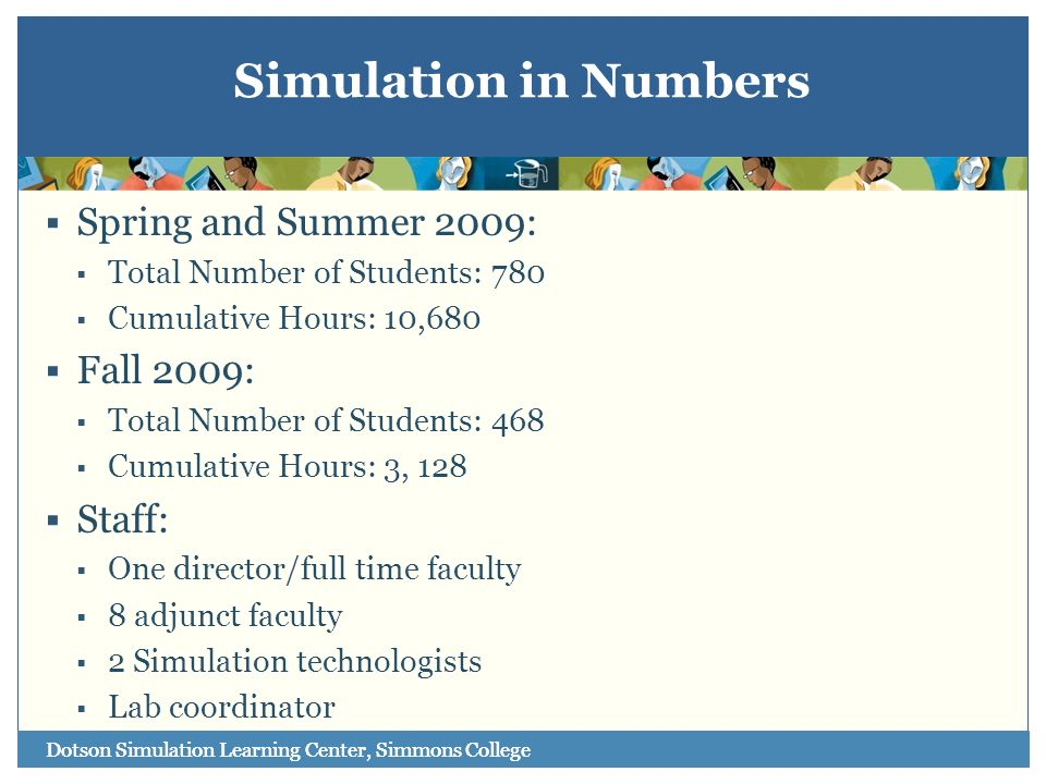 Dotson Simulation Learning Center, Simmons College Simulation in Numbers Spring and Summer 2009: Total Number of Students: 780 Cumulative Hours: 10,68