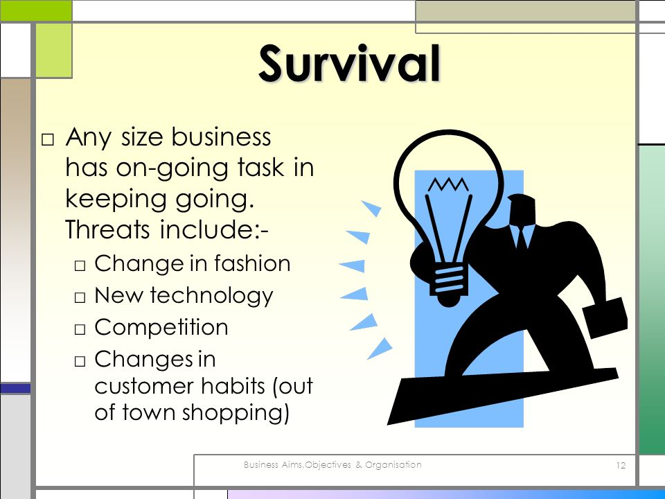 Business Aims,Objectives & Organisation 12 Survival Any size business has on-going task in keeping going. Threats include:- Change in fashion New tech