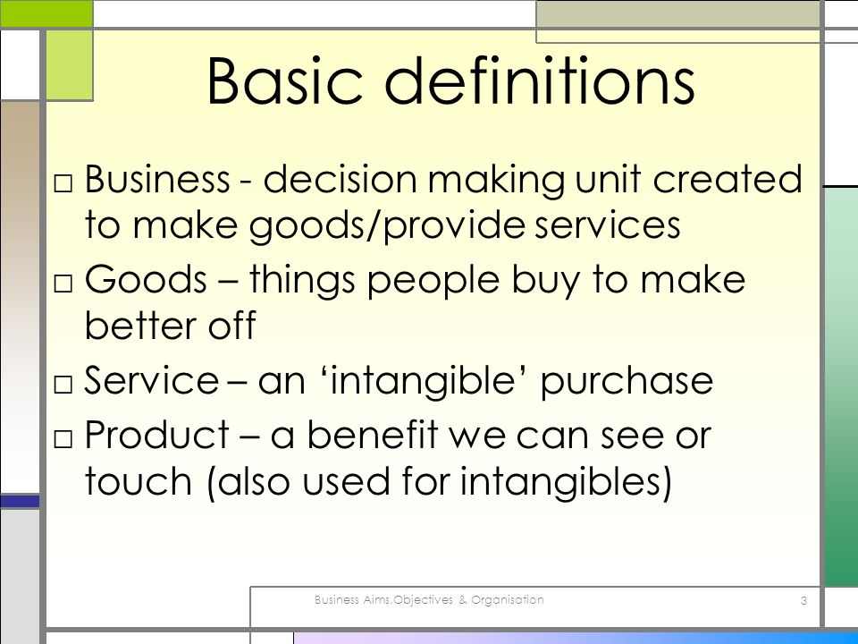 Business Aims,Objectives & Organisation 3 Basic definitions Business - decision making unit created to make goods/provide services Goods – things peop