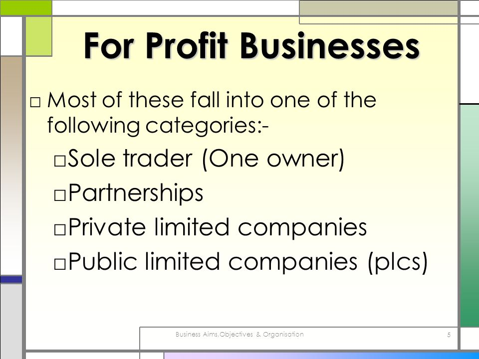 Business Aims,Objectives & Organisation 5 For Profit Businesses Most of these fall into one of the following categories:- Sole trader (One owner) Part