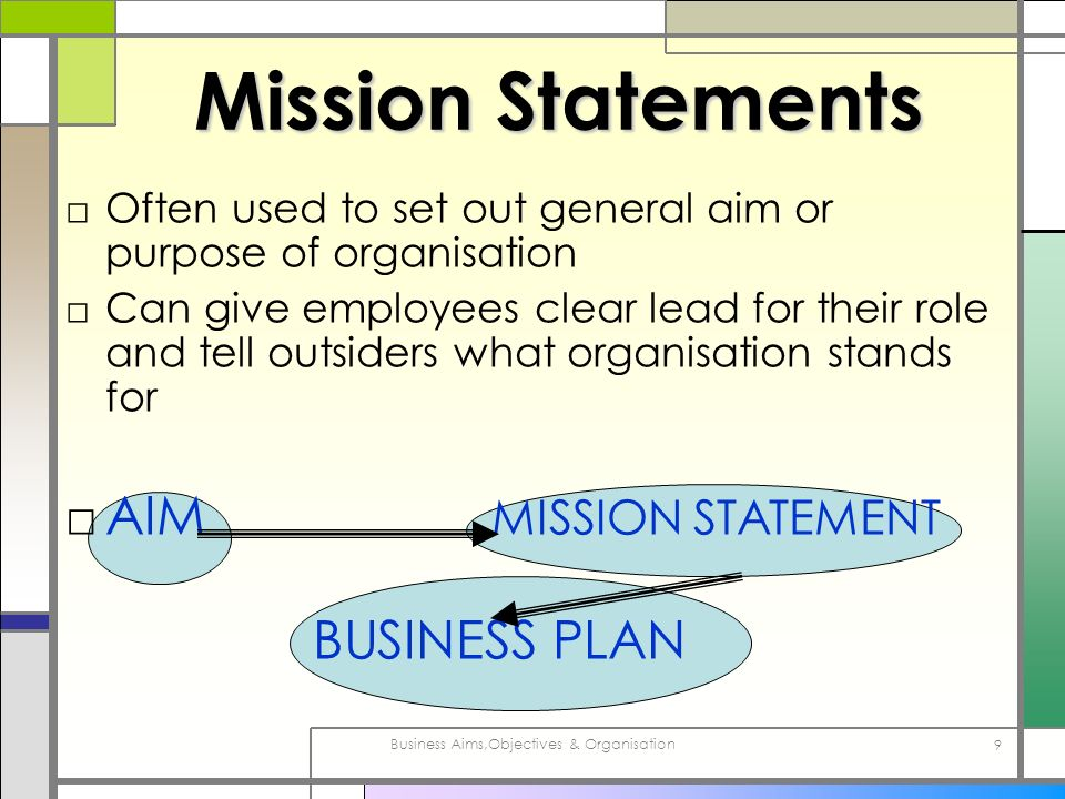 Business Aims,Objectives & Organisation 10 S-M-A-R-T Objectives SMART SMART objectives are S S PECIFIC – exact and precise M M EASURABLE – it can be seen to be done A A CHIEVABLE – it can be done R R EALISTIC – not a hopeless aim T T IME-RELATED – can be done within a pre- determined period