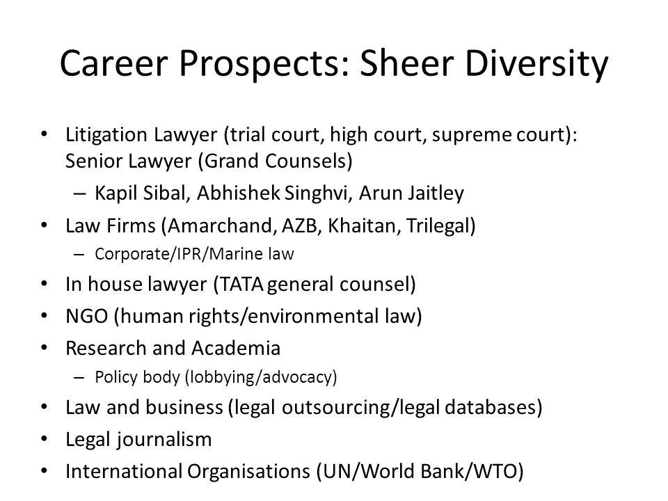 Career Prospects: Sheer Diversity Litigation Lawyer (trial court, high court, supreme court): Senior Lawyer (Grand Counsels) – Kapil Sibal, Abhishek S