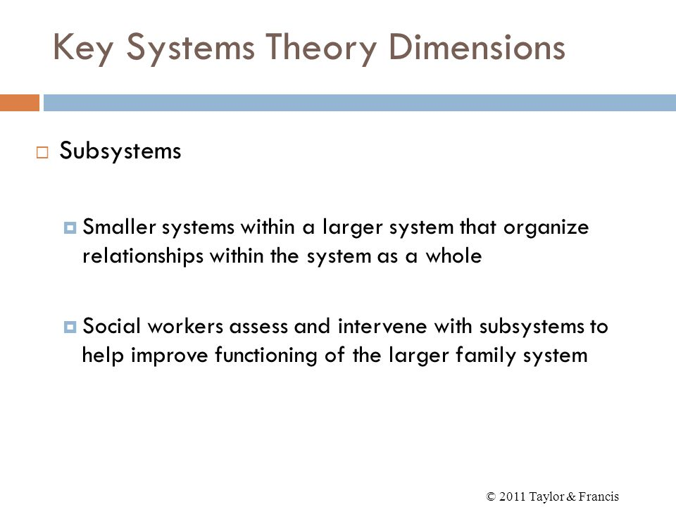 Key Systems Theory Dimensions Subsystems Smaller systems within a larger system that organize relationships within the system as a whole Social worker