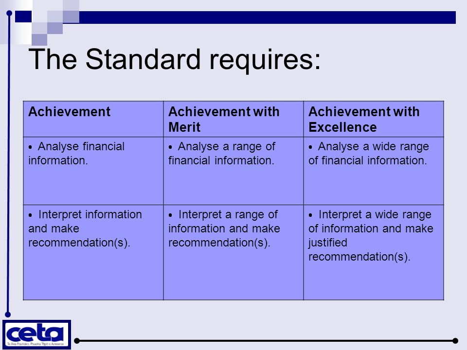 The Standard requires: AchievementAchievement with Merit Achievement with Excellence Analyse financial information. Analyse a range of financial infor