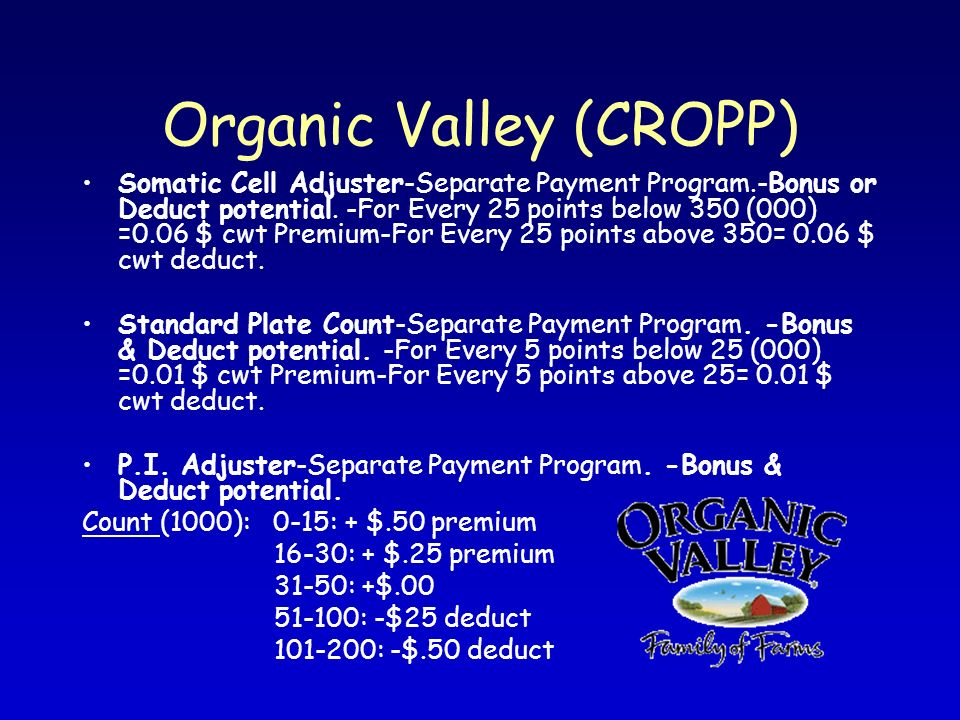Organic Valley (CROPP) Somatic Cell Adjuster-Separate Payment Program.-Bonus or Deduct potential. -For Every 25 points below 350 (000) =0.06 $ cwt Pre