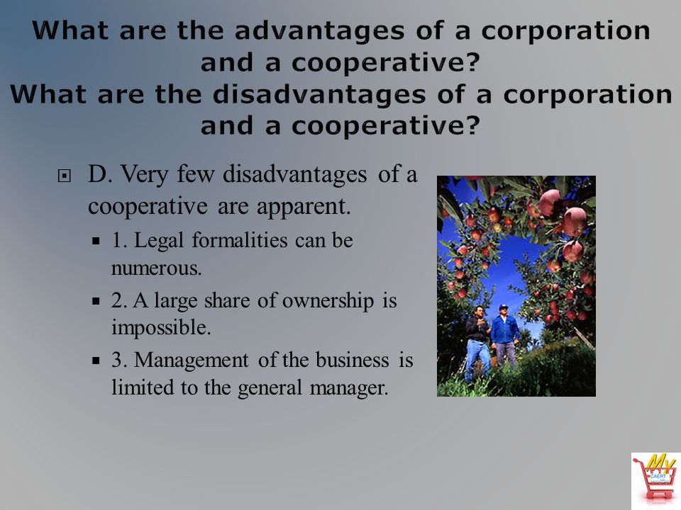 D. Very few disadvantages of a cooperative are apparent.