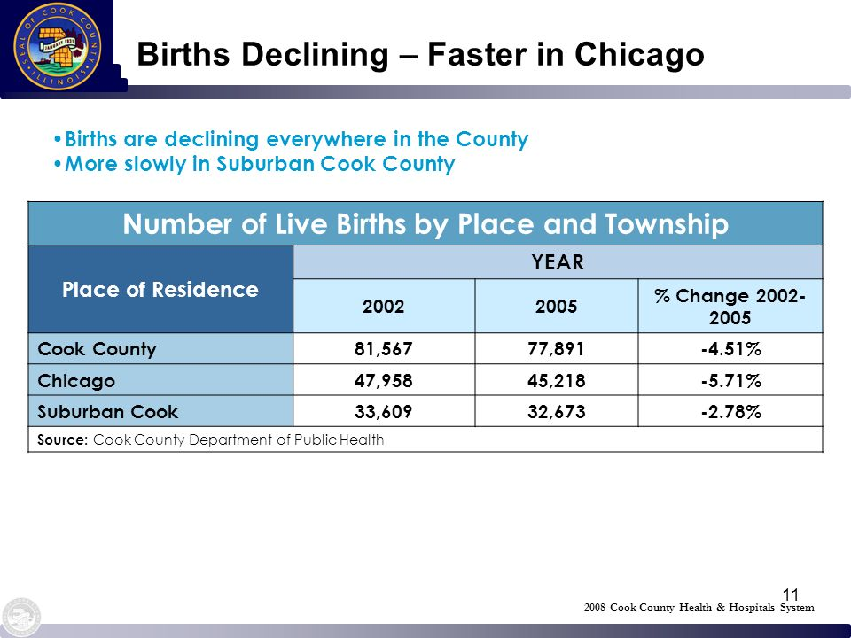11 Births Declining – Faster in Chicago Number of Live Births by Place and Township Place of Residence YEAR 20022005 % Change 2002- 2005 Cook County81