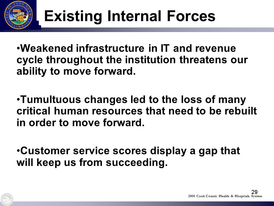 29 Existing Internal Forces Weakened infrastructure in IT and revenue cycle throughout the institution threatens our ability to move forward. Tumultuo