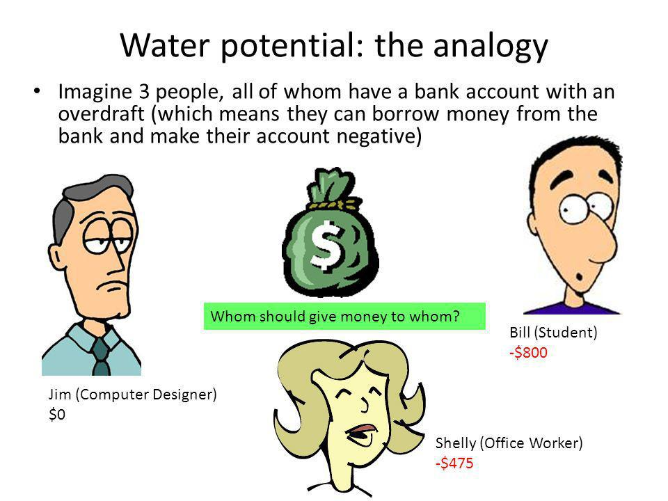 Water potential: the analogy Imagine 3 people, all of whom have a bank account with an overdraft (which means they can borrow money from the bank and