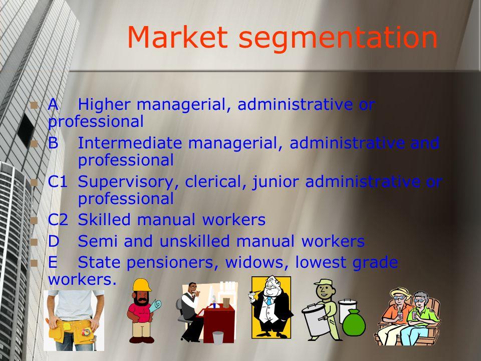 Market segmentation A Higher managerial, administrative or professional B Intermediate managerial, administrative and professional C1 Supervisory, cle