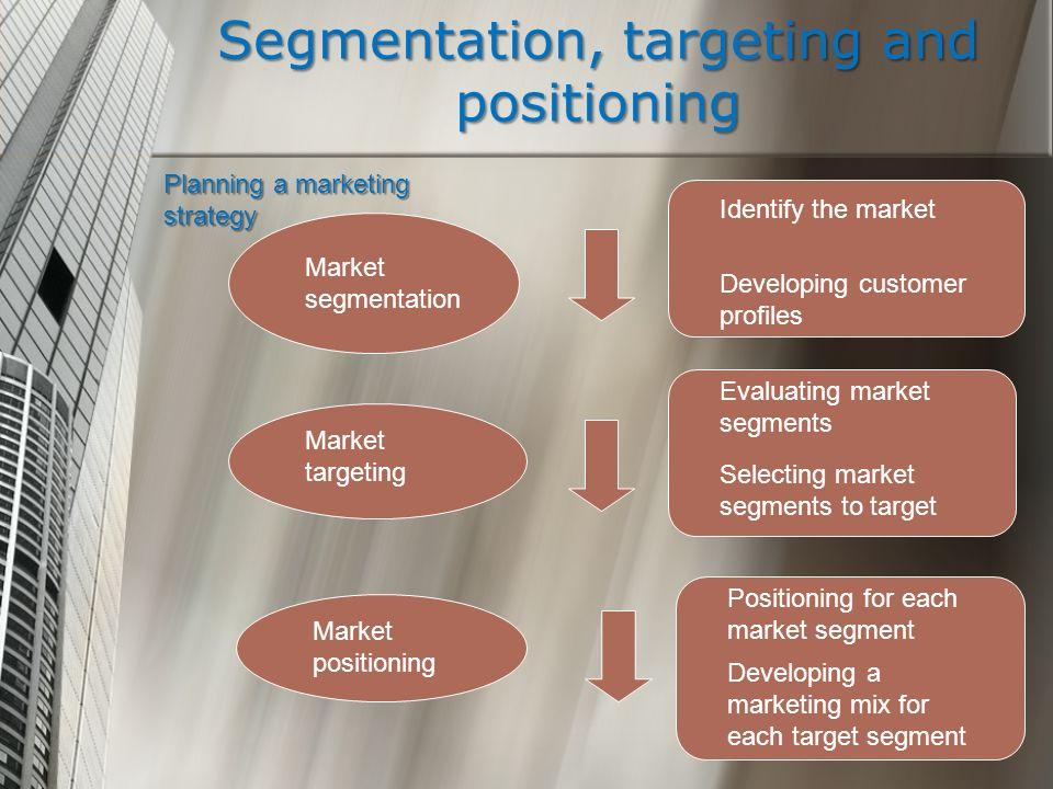Segmentation, targeting and positioning Planning a marketing strategy Market segmentation Market targeting Market positioning Identify the market Deve