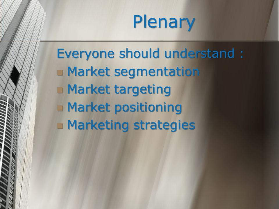 Plenary Everyone should understand : Market segmentation Market segmentation Market targeting Market targeting Market positioning Market positioning M