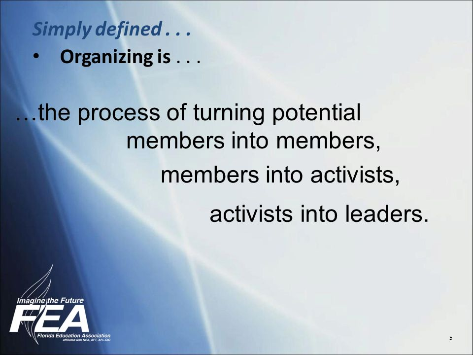 5 Simply defined... Organizing is...