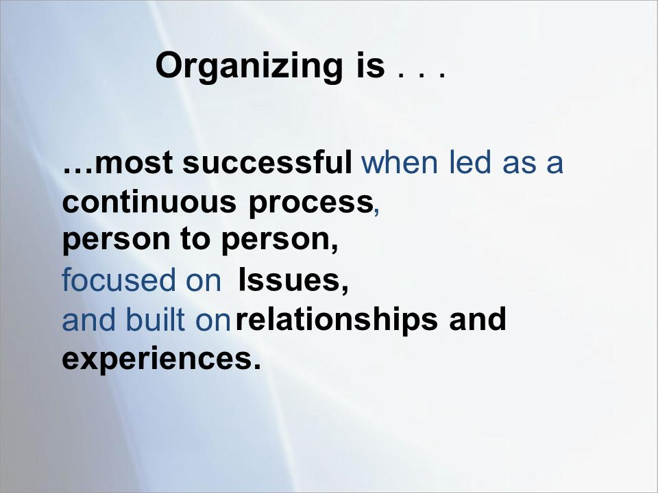 …most successful when led as a, focused on and built on Organizing is...