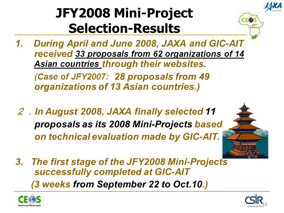 10 JFY2008 Mini-Project Selection-Results 1. During April and June 2008, JAXA and GIC-AIT received 33 proposals from 62 organizations of 14 Asian coun