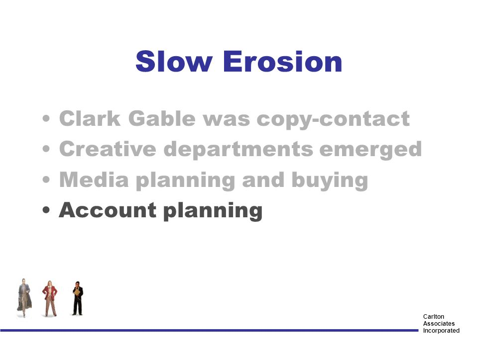 Carlton Associates Incorporated Clark Gable was copy-contact Creative departments emerged Media planning and buying Account planning Slow Erosion