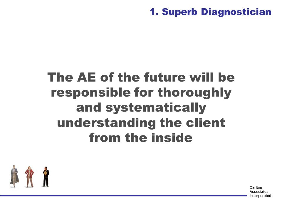 Carlton Associates Incorporated The AE of the future will be responsible for thoroughly and systematically understanding the client from the inside 1.