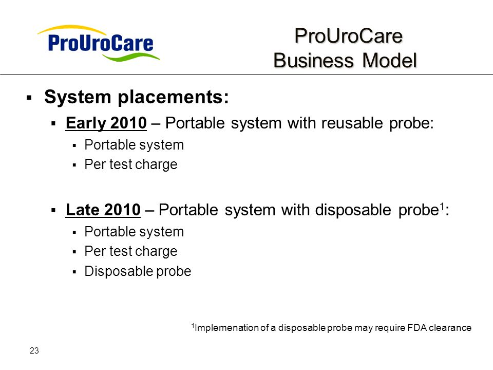 23 ProUroCare Business Model ProUroCare Business Model System placements: Early 2010 – Portable system with reusable probe: Portable system Per test charge Late 2010 – Portable system with disposable probe 1 : Portable system Per test charge Disposable probe 1 Implemenation of a disposable probe may require FDA clearance