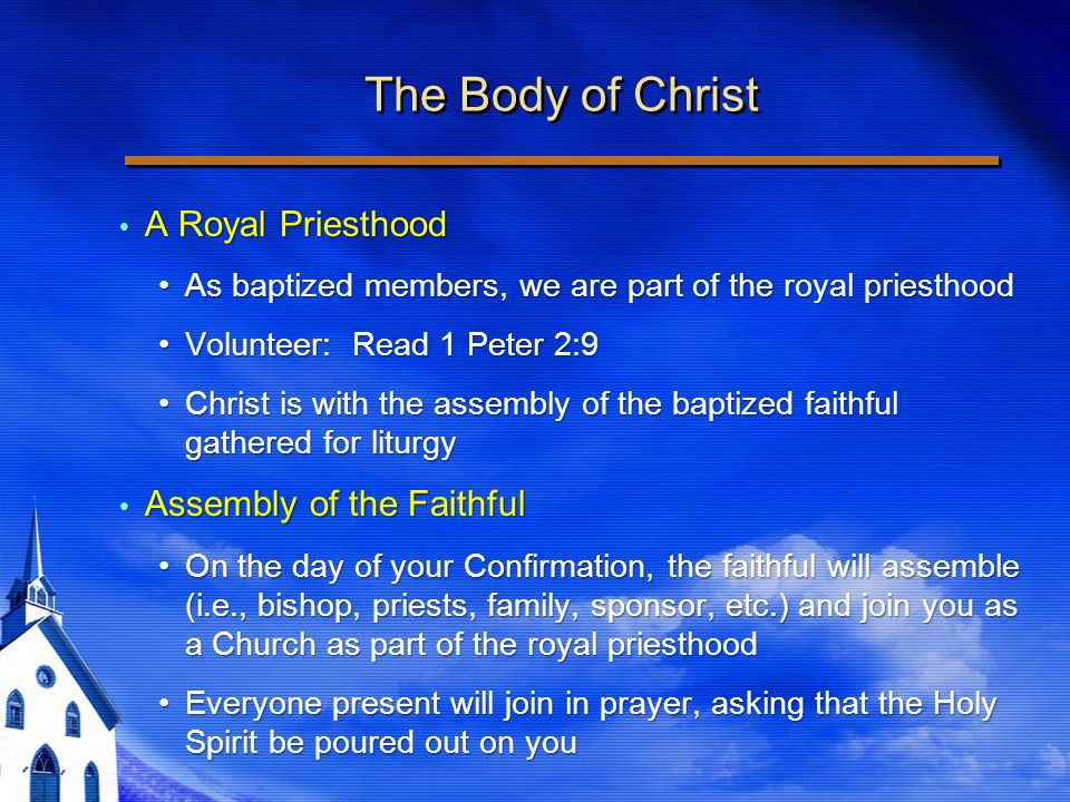 The Body of Christ A Royal Priesthood A Royal Priesthood As baptized members, we are part of the royal priesthoodAs baptized members, we are part of the royal priesthood Volunteer: Read 1 Peter 2:9Volunteer: Read 1 Peter 2:9 Christ is with the assembly of the baptized faithful gathered for liturgyChrist is with the assembly of the baptized faithful gathered for liturgy Assembly of the Faithful Assembly of the Faithful On the day of your Confirmation, the faithful will assemble (i.e., bishop, priests, family, sponsor, etc.) and join you as a Church as part of the royal priesthoodOn the day of your Confirmation, the faithful will assemble (i.e., bishop, priests, family, sponsor, etc.) and join you as a Church as part of the royal priesthood Everyone present will join in prayer, asking that the Holy Spirit be poured out on youEveryone present will join in prayer, asking that the Holy Spirit be poured out on you A Royal Priesthood A Royal Priesthood As baptized members, we are part of the royal priesthoodAs baptized members, we are part of the royal priesthood Volunteer: Read 1 Peter 2:9Volunteer: Read 1 Peter 2:9 Christ is with the assembly of the baptized faithful gathered for liturgyChrist is with the assembly of the baptized faithful gathered for liturgy Assembly of the Faithful Assembly of the Faithful On the day of your Confirmation, the faithful will assemble (i.e., bishop, priests, family, sponsor, etc.) and join you as a Church as part of the royal priesthoodOn the day of your Confirmation, the faithful will assemble (i.e., bishop, priests, family, sponsor, etc.) and join you as a Church as part of the royal priesthood Everyone present will join in prayer, asking that the Holy Spirit be poured out on youEveryone present will join in prayer, asking that the Holy Spirit be poured out on you