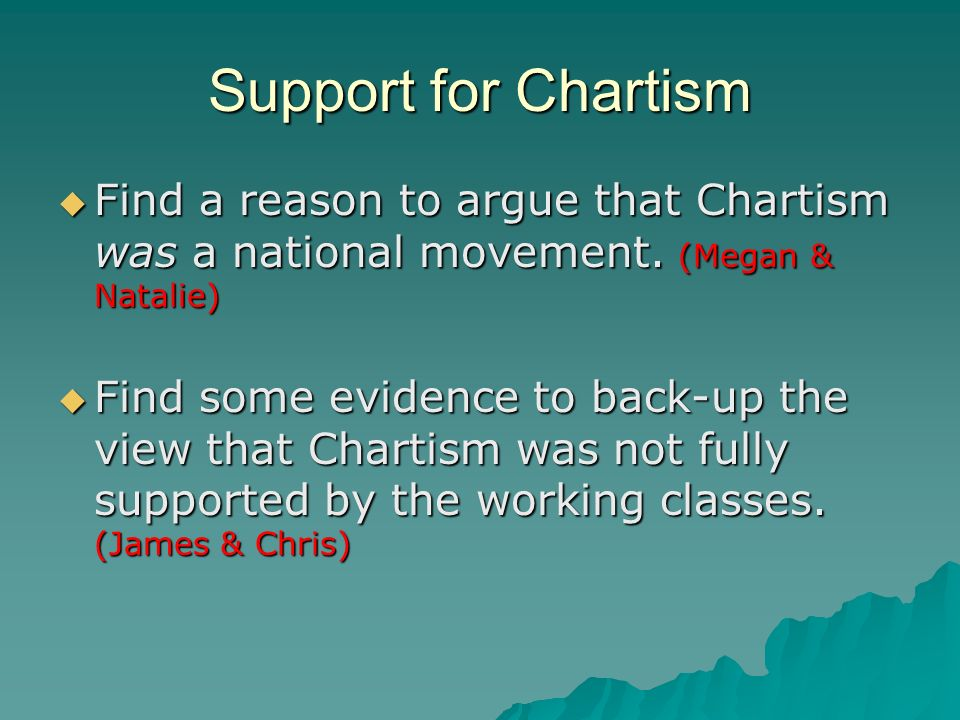 Support for Chartism Find a reason to argue that Chartism was a national movement.