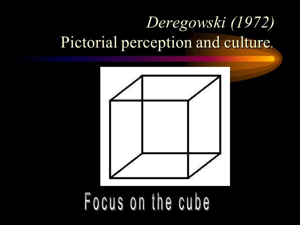 Deregowski (1972) Pictorial perception and culture.