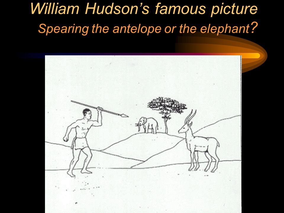William Hudsons famous picture Spearing the antelope or the elephant ?