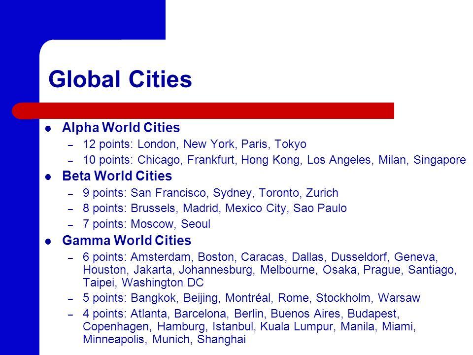 Global Cities Alpha World Cities – 12 points: London, New York, Paris, Tokyo – 10 points: Chicago, Frankfurt, Hong Kong, Los Angeles, Milan, Singapore