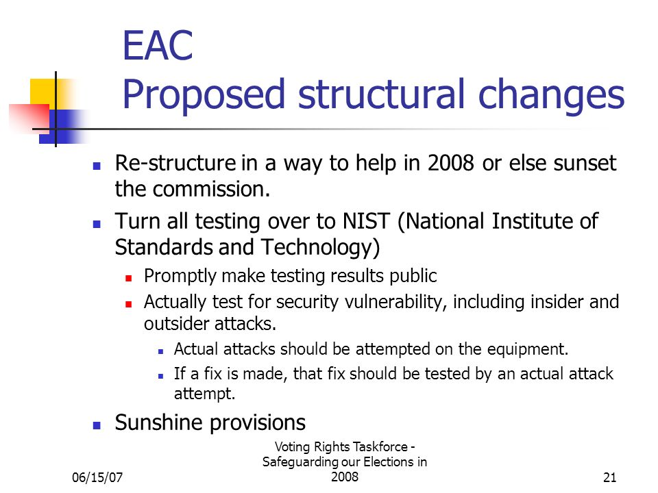 06/15/07 Voting Rights Taskforce - Safeguarding our Elections in 200821 EAC Proposed structural changes Re-structure in a way to help in 2008 or else sunset the commission.