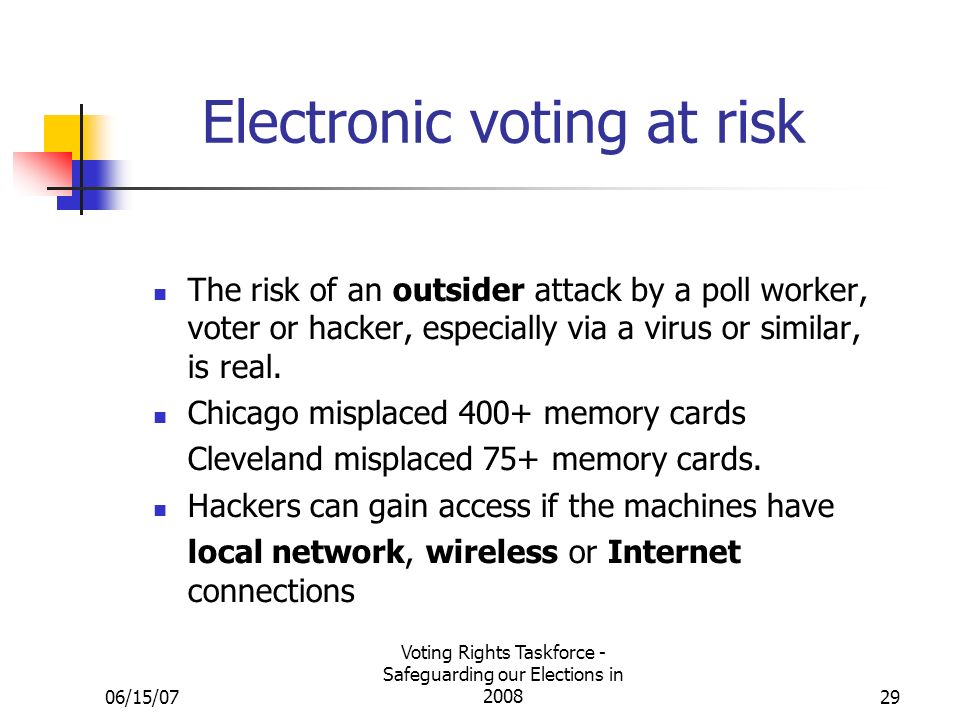 06/15/07 Voting Rights Taskforce - Safeguarding our Elections in 200829 Electronic voting at risk The risk of an outsider attack by a poll worker, voter or hacker, especially via a virus or similar, is real.