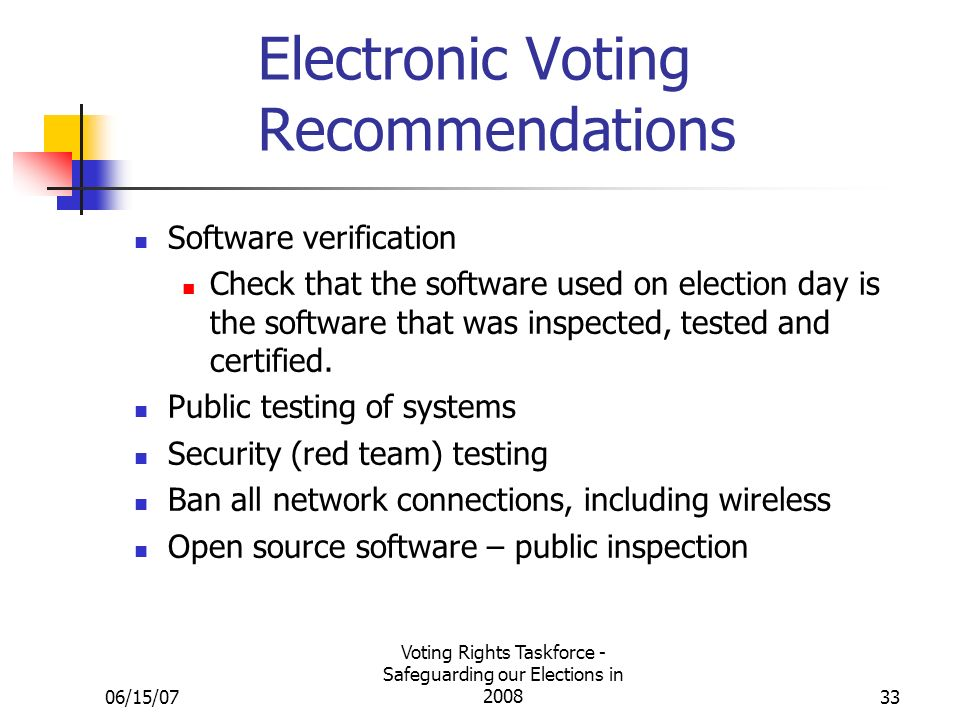 06/15/07 Voting Rights Taskforce - Safeguarding our Elections in 200833 Electronic Voting Recommendations Software verification Check that the software used on election day is the software that was inspected, tested and certified.