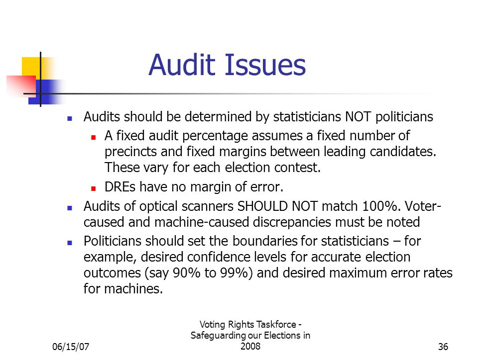 06/15/07 Voting Rights Taskforce - Safeguarding our Elections in 200836 Audit Issues Audits should be determined by statisticians NOT politicians A fixed audit percentage assumes a fixed number of precincts and fixed margins between leading candidates.