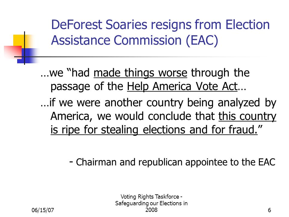 06/15/07 Voting Rights Taskforce - Safeguarding our Elections in 20086 DeForest Soaries resigns from Election Assistance Commission (EAC) …we had made things worse through the passage of the Help America Vote Act… …if we were another country being analyzed by America, we would conclude that this country is ripe for stealing elections and for fraud.