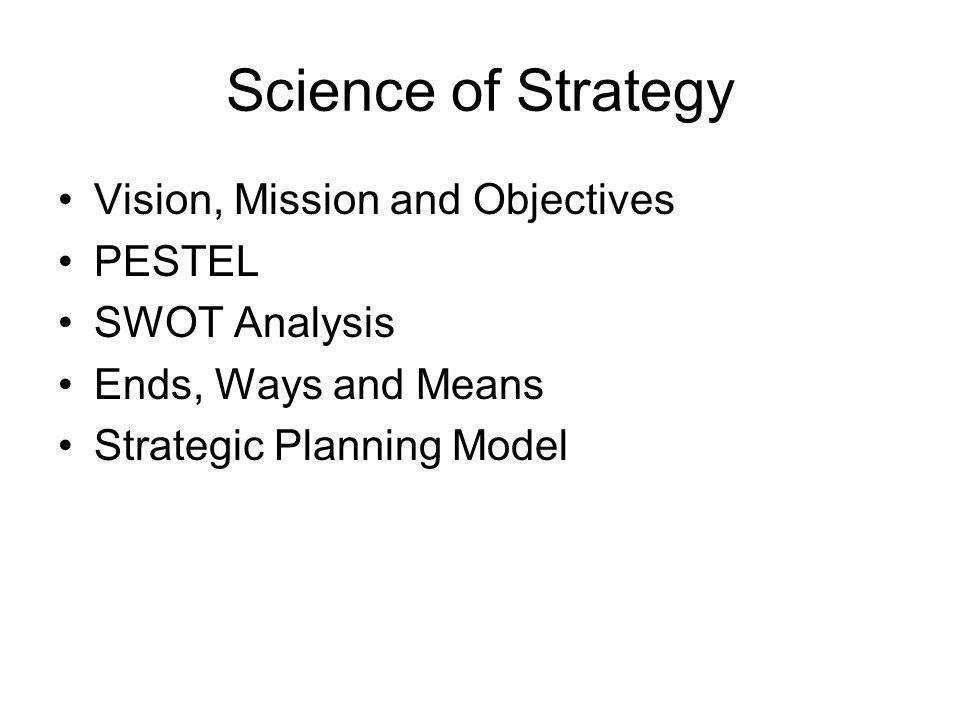 Science of Strategy Vision, Mission and Objectives PESTEL SWOT Analysis Ends, Ways and Means Strategic Planning Model