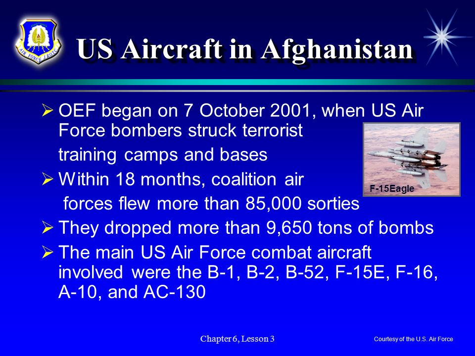 Chapter 6, Lesson 3 US Aircraft in Afghanistan US Aircraft in Afghanistan OEF began on 7 October 2001, when US Air Force bombers struck terrorist trai